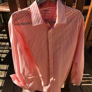 Izod orange and white stripe button down shirt